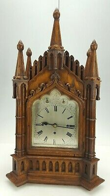 Antique English Gothic Carved Oak Triple Fusee Musical 8 Bell Bracket Clock