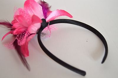 NEW Pink Layered Flower Fascinator Alice Band Headband Wedding Prom