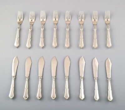 Complete Danish silver (.830) fish service for 8 p. Christian Fr. Heise. 1910/20