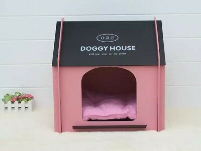 Indoor Outdoor Wooden Pet Dog Cat House Bed Kennel With Mat Pink Blue
