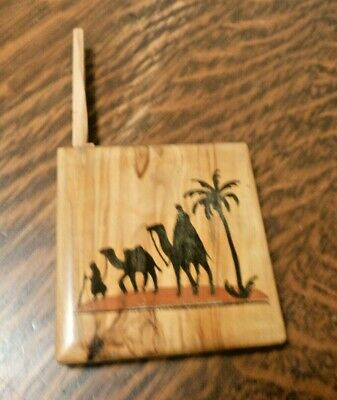 Vintage OLIVE WOOD CIGARETTE CASE BOX Jerusalem