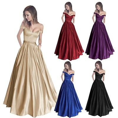 Long Women Off Shoulder Wedding Dresses Evening Prom Party Bridesmaid Ball Gowns