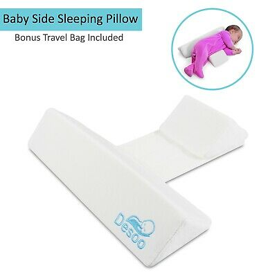 Baby Side Sleep Pillow Anti Roll For Newborn Infant With Safe Side Support White