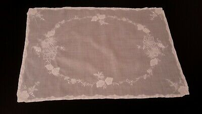 Set Of 4 White On Sheer White Vintage Madeira Embroidered Appliqued Placemats