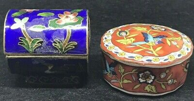 Lot Of 2 Antique Chinese Cloisonne Enamel Duck Flowers Box & Porcelain Asian Box