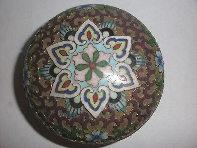 Nice Antique Chinese Cloisonne Round Box With Flowers Decoration