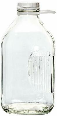 64Oz Dairy Farm Glass Milk Bottle With Reusable Snaap Top Lid/Grooved SSide Grip
