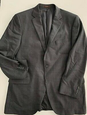 PETER MILLAR Men's Grey Plaid Wool Sport Jacket  Blazer Suit Size 44T