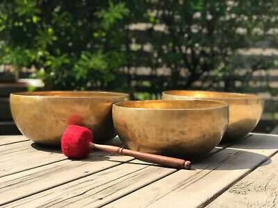 "Tibetan 7-Metal Singing Bowl Set of 3 - Hand Hammered 12"" 13"" 14"" Made in Nepal"