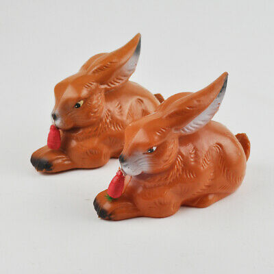 2 x Rolly Toys Hase - alte Figuren - Kunststoff - Vintage Rabbits - West Germany