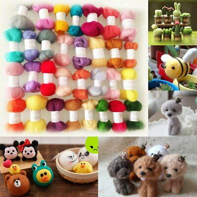 50 Colors DIY Wool Fibre Roving Needle Felting Hand Spinning Crafts Supply