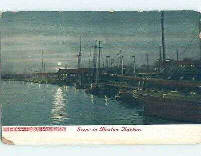 Pre-1907 BOATS DOCKED IN HARBOR AT NIGHT Boston Massachusetts MA A1369