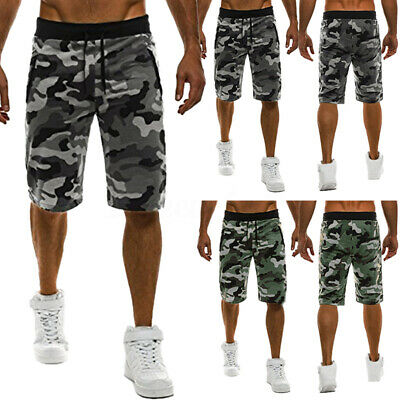 Mens Camo Shorts Sports Outdoor Joggers Shorts Army Military Casual Trousers New