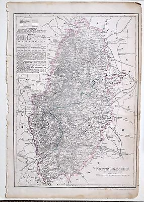1864 Large Antique Map ~ Nottinghamshire Mansfield Worksop Newark Upon Trent
