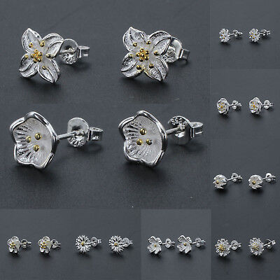 925 Silver PLT Simple Elegant  Stud Earrings Daisy   Flower Ladies Womens Gift