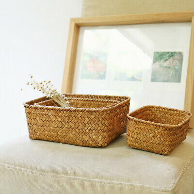 Handmade Straw Dried Flower Fruit Pot Rattan Basket Candy Earphone Storage Box