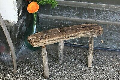 Three Legged Antique Wooden Milking Stool Small Round Primitive Rustic Stool