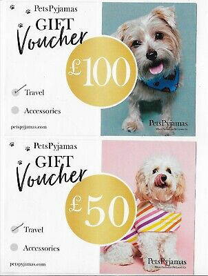 New - 2 x Pets Pyjamas Travel & Accessories Gift card/Voucher (£150 Value!!)