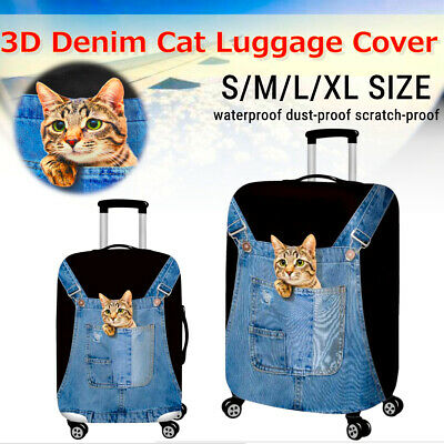 3D Pattern Travel Luggage Protector Cover Suitcase Elastic Case Covers Cat style