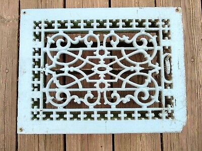 Tuttle And Bailey Cast Iron Vents Covers Ornate Grates Registers 14x10 Vtg chipd