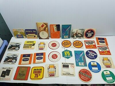 Beer coasters lot 32 Cigarettes advertising Sterling Drum Dunhill Nelson smoking