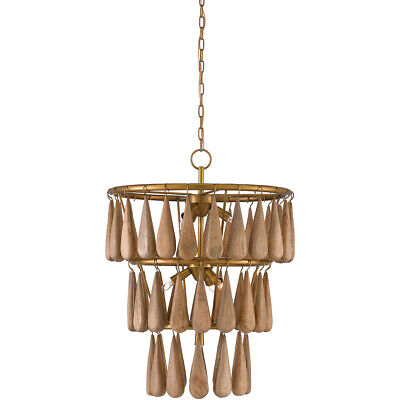 Currey & Company 9000-0406 Savoiardi Chandelier Vintage Brass and Natural