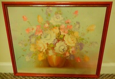 """Vintage Signed R. (Robert) Cox Floral Painting 17.5"""" x 21.5"""" w/ Slim Red Frame"""