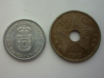 1955 Belgian Congo 50 Cents Brilliant Uncirculated Palm Tree Coat of Arms Coin