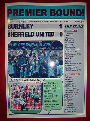 Burnley 1 Sheffield United 0 - 2009 Championship play-off final - souvenir print