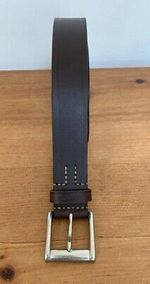 Men's Classic Metal Buckle Handcrafted Genuine Leather Needlepoint Jean Belt 34