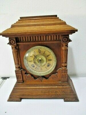 ANTIQUE OAK CASED SHARON 8 DAY STRIKING MANTLE CLOCK BY ANSONIA USA c1890