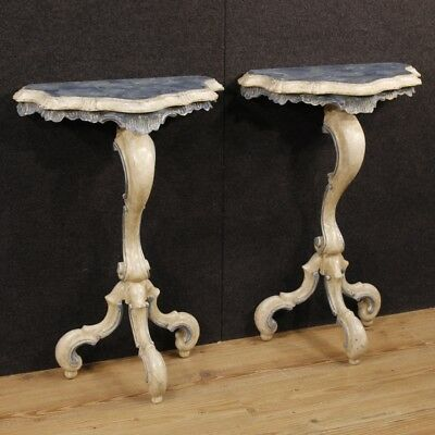 Couple Console Venetian Furniture Tables Lacquered Wooden Painted Antique Style