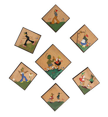 7 x small vintage wooden wall plaques Hand painted Circa 1950