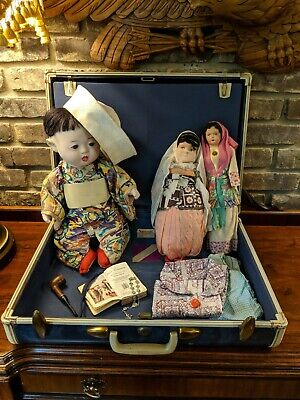 ICHIMATSU BOY BABY DOLL + found in SAMSONITE LUGGAGE of Korean War NAVY Chaplain