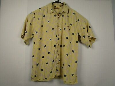 6d245702 Mens Bobby Chan L Yellow Check 100% Silk Short Sleeve Button Front Camp  Shirt