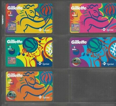 (5) 1990's  Collectible Sprint Gillette Basketball  Prepaid Phone Card Lot