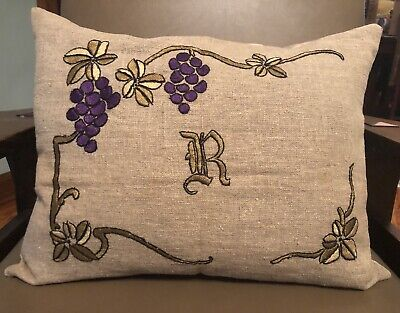 Antique Arts & Crafts Mission Style Grapes Stickley Era Embroidered Linen Pillow