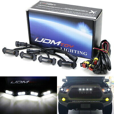 Smoke Lens White LED Front Grille Lights For 16-up Toyota Tacoma w/TRD Pro Grill