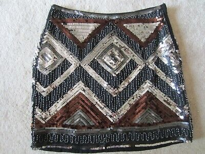 e9402bc818 Womens H&M Sequins Beads Sparkle Black Multi Color Mini Skirt Size 6 Us 36  Eur