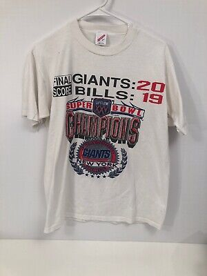 Vintage 90s Mens LARGE Superbowl XXV T-shirt NY Giants vs Buffalo Bills NFL USA