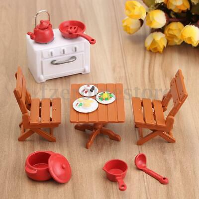 Plastic Dining Table Miniature Kitchen Doll House Furniture Toy Set Gifts