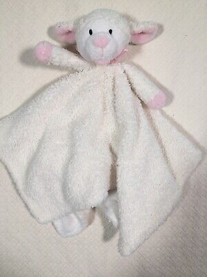 Piccolo Bambino White And Pink Sheep Baby Blanket Plush Lovey Security