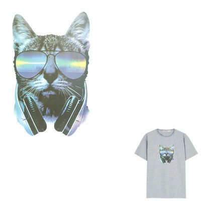 Music Cat Iron on Patches Washable Heat Transfer Stickers T-shirt Appliques SE