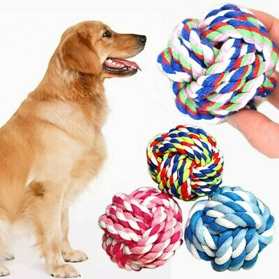 Aggressive Chew Dog Knot Toy Ball Braided Training Tough Strong Cotton Rope Toys