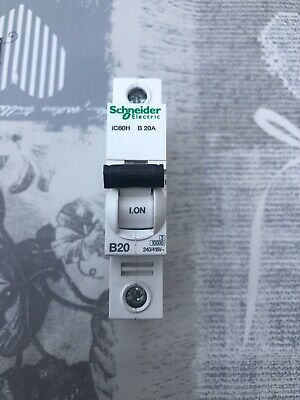 SCHNEIDER ACTI9 iC60H 20 AMP TYPE B 20A SINGLE POLE PHASE BREAKER MCB A9F53120