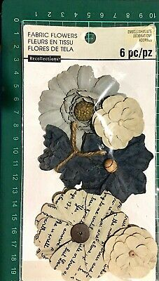 Recollections Embellishments Paper Flowers 6 Mixed Coloured Flowers
