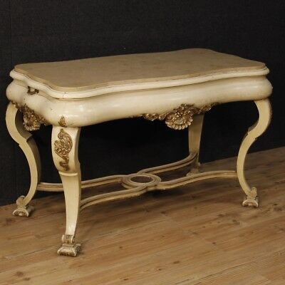 Table Dutch Lacquered Mobile Lounge in Gilt Wood Marble Antique Style 900