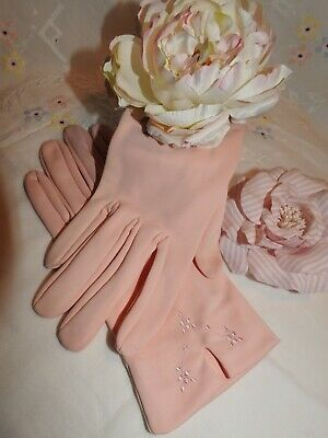 Original 1950's/60's Nylon  Baby Pink Wrist Length Gloves By 'Dents'  7 1/2