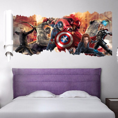 Avengers Cartoon Kids Boy Wall Sticker Art Mural Decal Removable Decor Hulk Thor