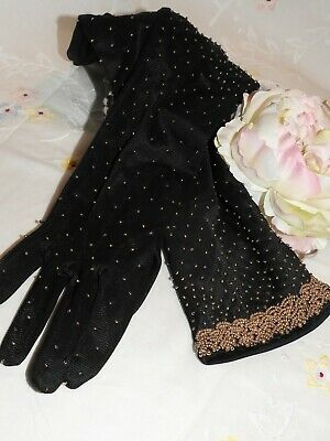 Vintage 1950's/60's Beaded Black Evening Length Gloves By 'Personality' Size 7